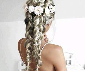blonde, flowers, and white image