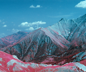 mountains, blue, and pink image