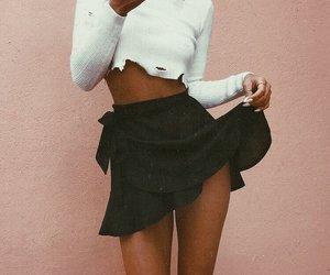 black, skirt, and white image