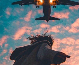 airplane, girl, and travel image