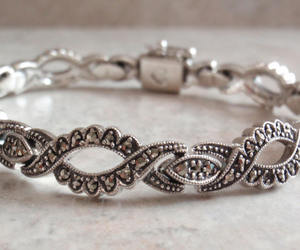 sterling silver, vintage jewelry, and marcasite bracelet image