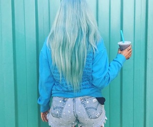 halsey, blue, and hair image