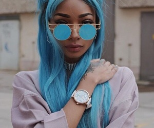 blue, sunglasses, and blue hair image
