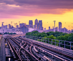 buildings, canary wharf, and sunset image