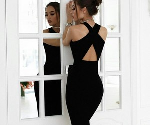 black dress, bunny, and fashion image