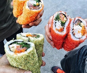 food, yummy, and sushi image