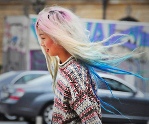 blue hair, pink hair, and platinum blonde image