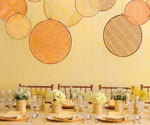 decor, yellow, and fabric image