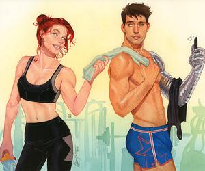 Natasha and Bucky, post-workout ;)2017, commission for Sir Anka