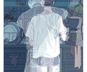 blue, anime couple, and anime sad image