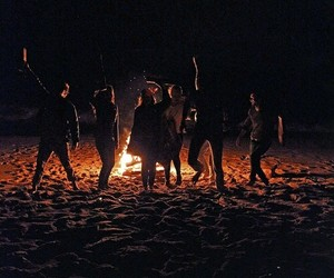 friends, night, and fire image