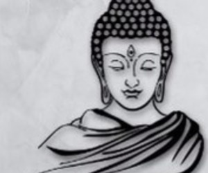 black-and-white, Buddha, and peace image