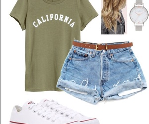 converse, outfits, and shorts image