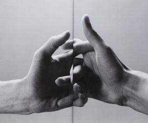 black and white, hands, and hearts image