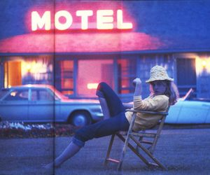 girl, motel, and neon image