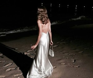 girl, night, and beach image