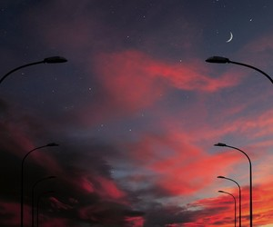 sky, moon, and grunge image