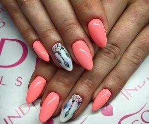 coral pink oval nails image