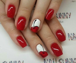 cherry, nails, and red image