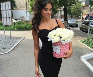 girl, roses, and style image