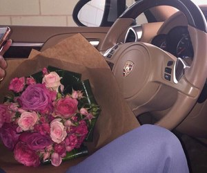car, flowers, and porsche image