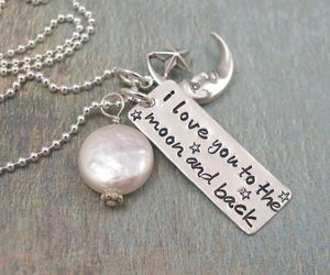 love, moon, and necklace image