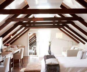 beams, bed, and bedroom image