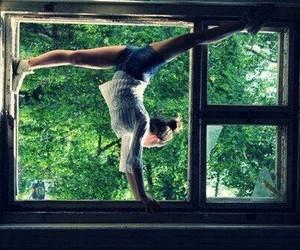 girl, window, and gymnastics image