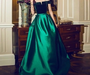 evening dress, green dress, and formal dress image