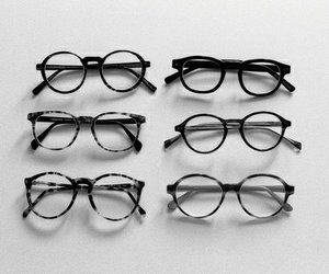 glasses, vintage, and black and white image