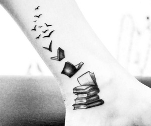 tattoo, book, and birds image