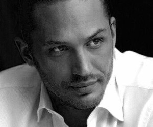 tom hardy and black and white image