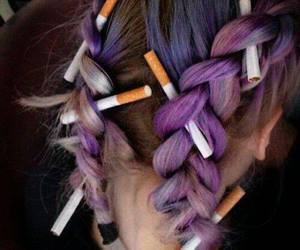 hair, cigarette, and purple image