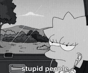 bart simpson, maggie simpson, and stupid people image