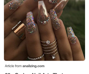 glamour, gold, and manicure image