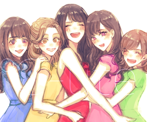 anime girl, girls, and group image