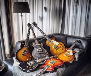 bed, electric, and guitar image