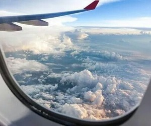 travel, clouds, and plane image