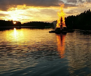fire, lake, and midsummer image