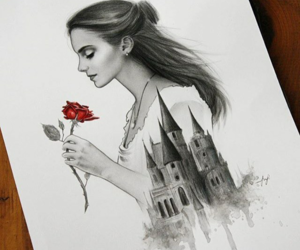 art, drawing, and beauty and the beast image