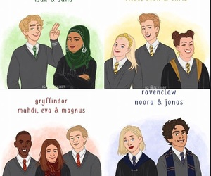 chris, eva, and hogwarts image