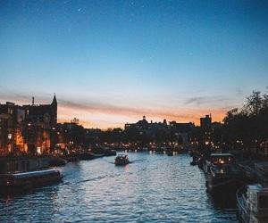 night, city, and moon image