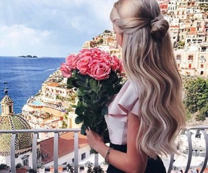girl, flowers, and beautiful image