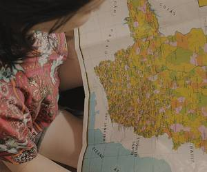 girl, map, and planning image