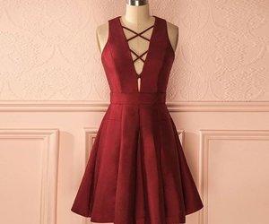 burgundy homecoming dress, short homecoming dress, and v-neck prom dresses image