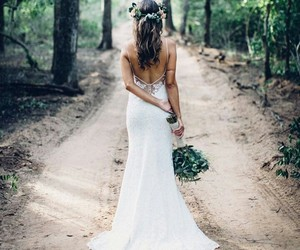 flowers, path, and forest image