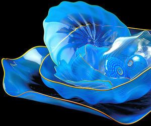 blue, bowls, and Dale Chihuly image