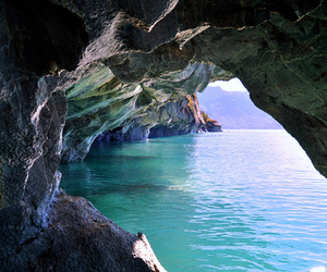 sea, blue, and cave image