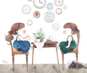bunny, girls, and illustration image