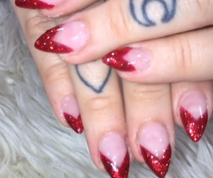 nails, red nails, and french tips image